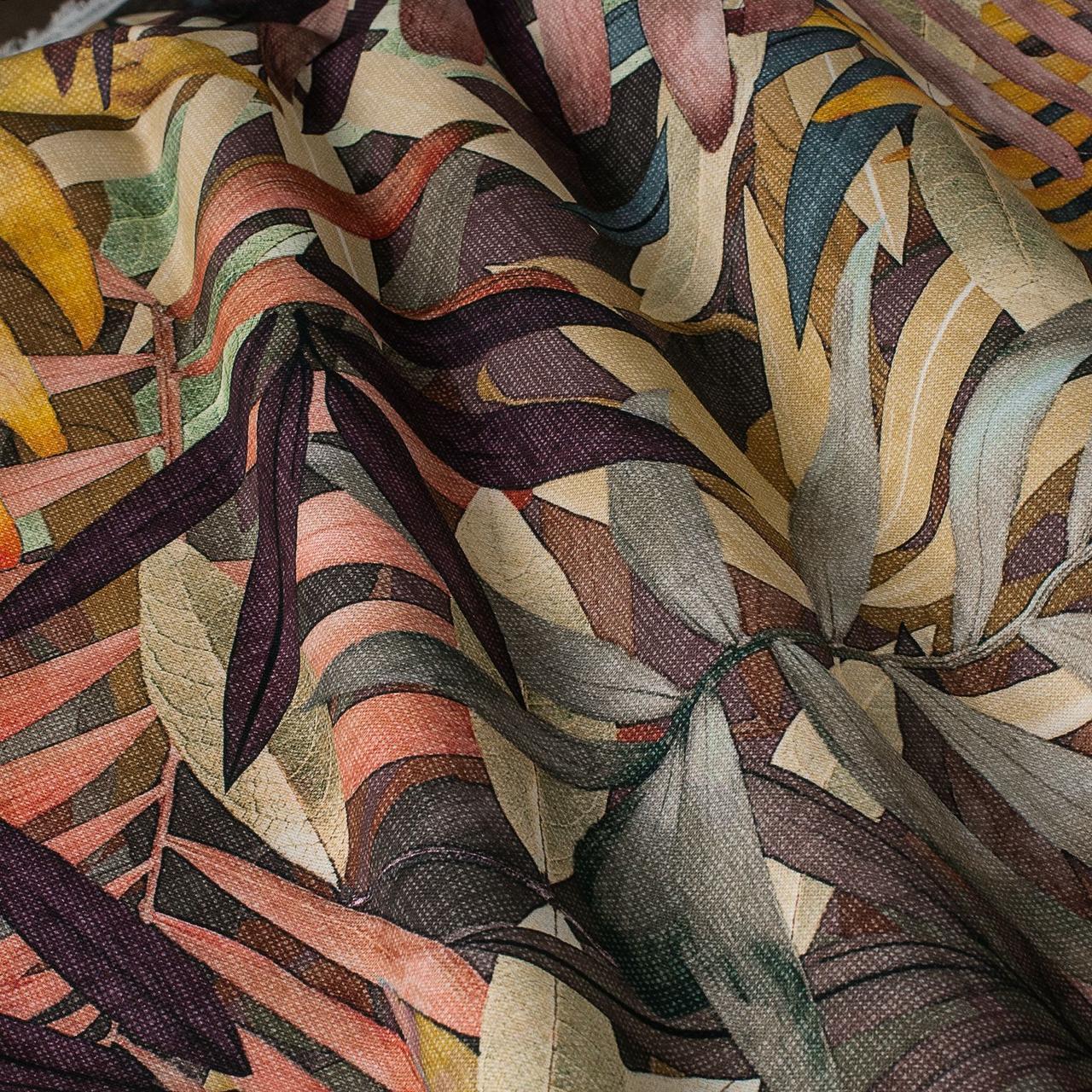 Декоративна тканина сірі і помаранчеві та коричневі листя Іспанія 87888v7