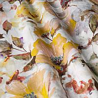 Декоративна тканина жовті квіти на білому тлі Іспанія 87876v5, фото 1