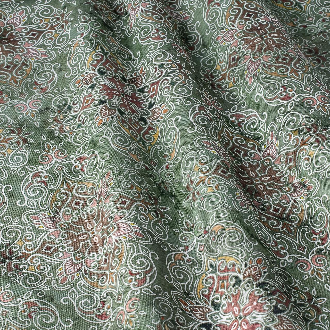 Декоративная ткань коричневый вензель на зеленом фоне Испания 87874v4