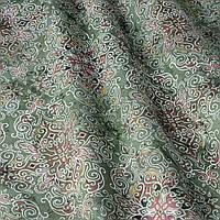Декоративная ткань коричневый вензель на зеленом фоне Испания 87874v4, фото 1