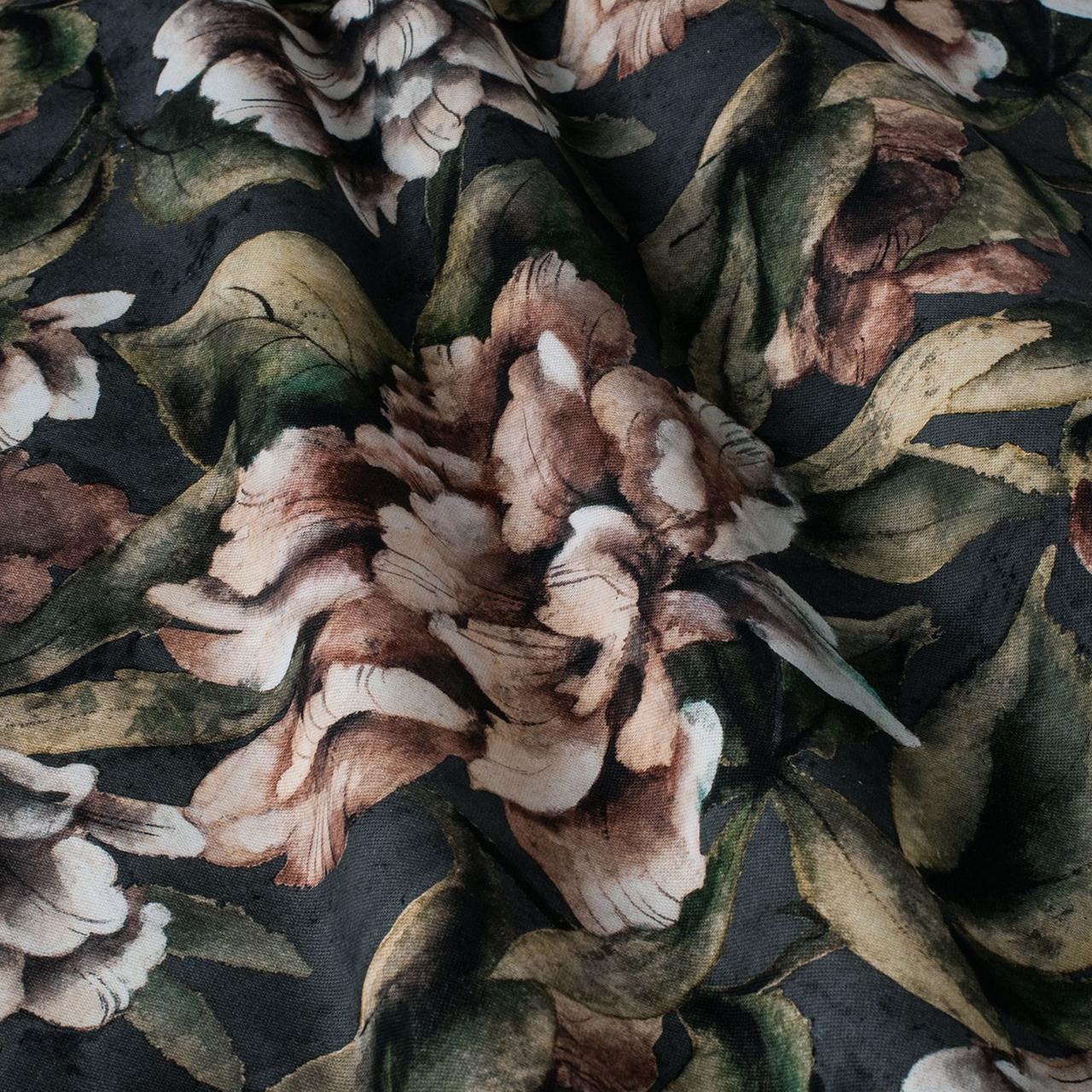 Декоративна тканина коричневі квіти з листям на зеленому тлі Іспанія 87872v6