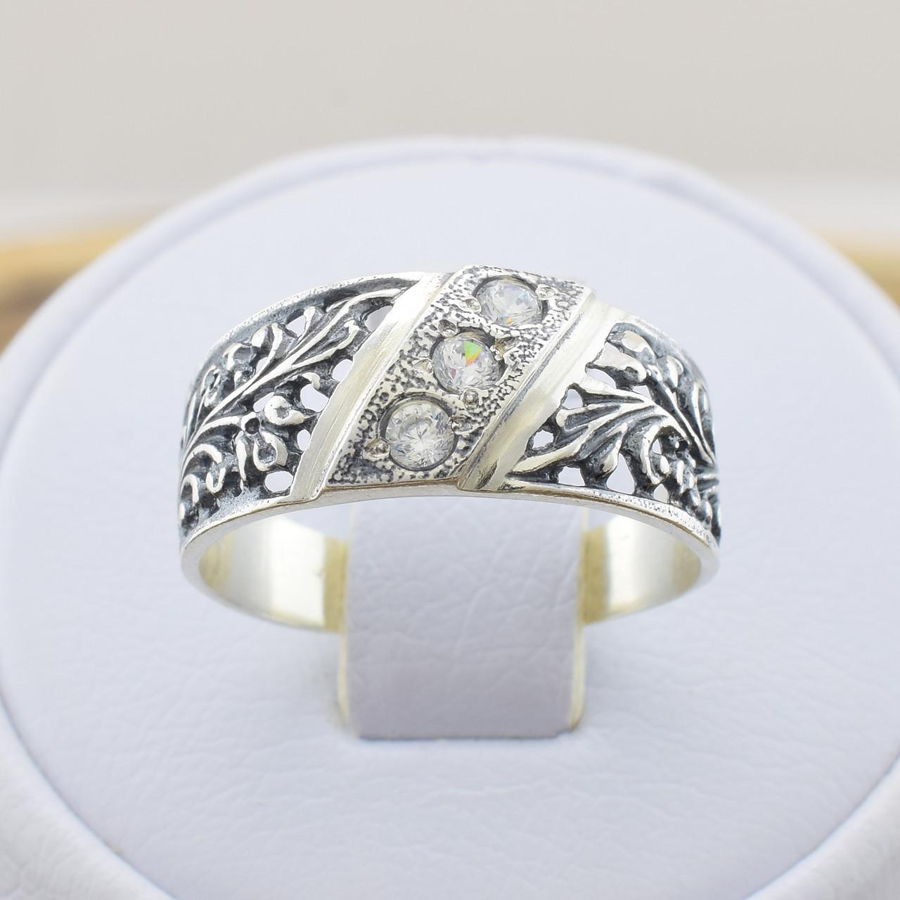 Серебряное кольцо Славяночка вставка белые фианиты вес 2.4 г размер 20.5