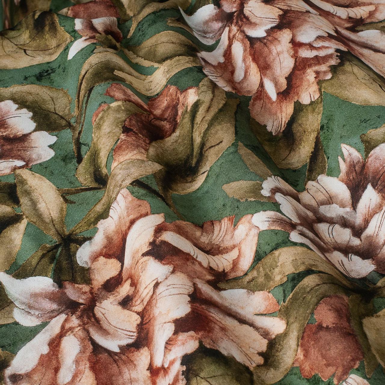 Декоративная ткань оранжевые цветы с листьями на зеленом фоне Испания  87871v4
