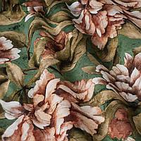 Декоративная ткань оранжевые цветы с листьями на зеленом фоне Испания  87871v4, фото 1