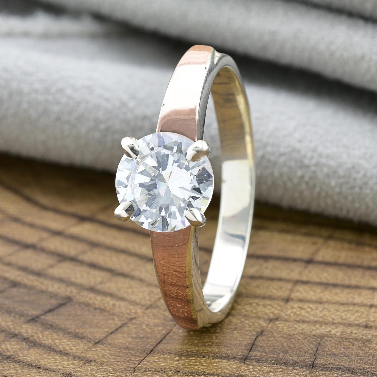 Кольцо серебряное женское с золотом Кристалл вставка белый фианит размер 17.5