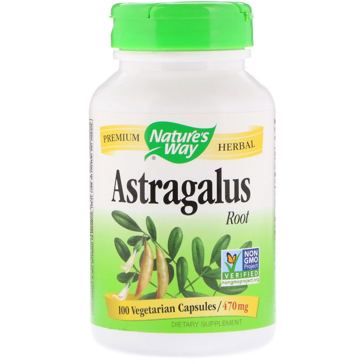 Корень Астрагала, Astragalus Root, Nature's Way, 470 mg, 100 Капсул