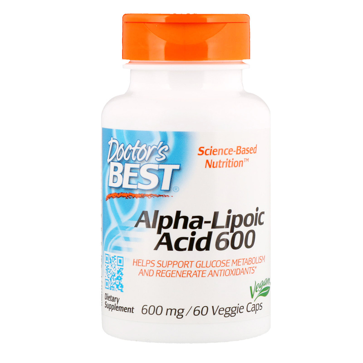 Альфа-липоевая кислота, Doctor's Best, Alpha-Lipoic Acid, 600 мг, 60 капсул