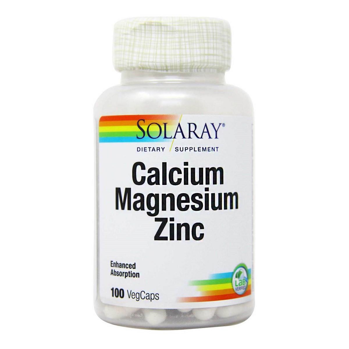 Кальций Магний Цинк, Calcium Magnesium Zinc, Solaray, 100 капсул