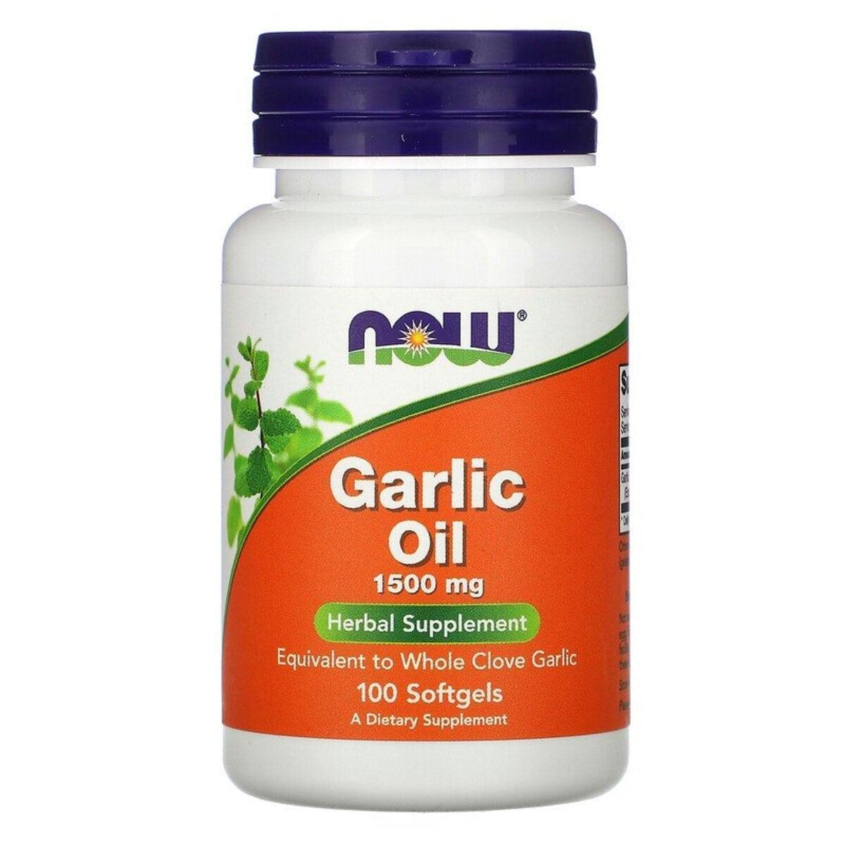 Чесночное масло, 1500 мг, Garlic Oil, Now Foods, 100 гелевых капсул