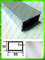 Алюминиевая прямоугольная труба 50*30*2, Без покрытия