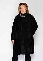 Женское пальто альпака №6 большого размера (р. 52-60 ) черный, фото 1