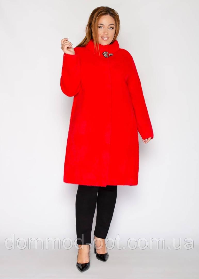 Женское пальто альпака №6 большого размера (р. 52-60 ) красный