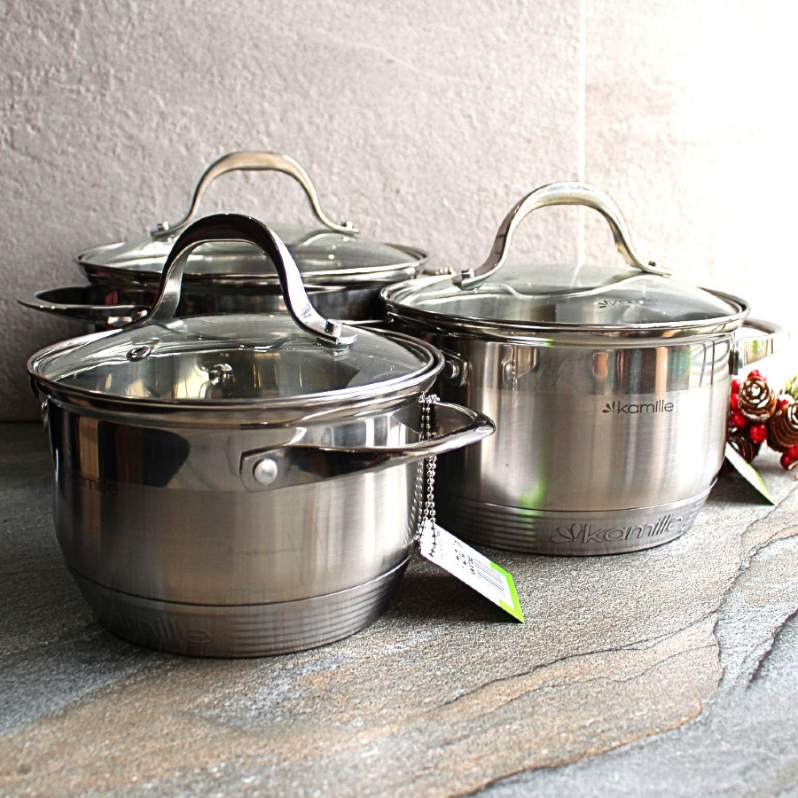 Набор кастрюль из нержавеющей стали 6 пр со шкалой (1.8л, 2.3л, 3.3л) Kamille
