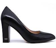 Женские натуральные кожаные демисезонные классические черные туфли на высоком толстом каблуке Польша Натуральная кожа, Натуральная кожа