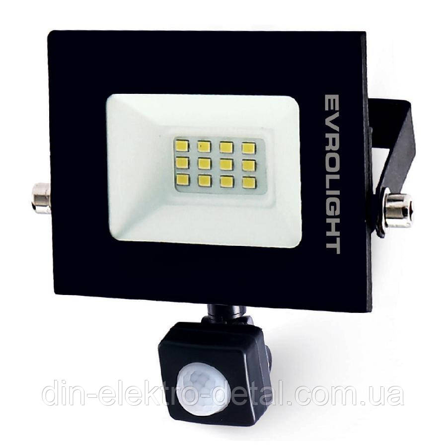 Прожектор светодиодный EVROLIGHT 10Вт с датчиком движения EV-10D 6400К