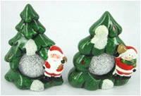"""Сувенир 2109-3 кер.светящ.""""Елка с шар.Дед М.,Снег.""""2в. 14см"""