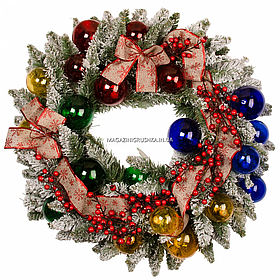 Вінок Yes! Fun Різдвяні візерунки з декором d-70 см Засніжений (904399)