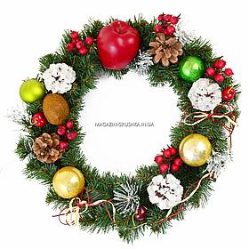 """Вінок Yes! Fun Різдвяний з прикрасою """"Щедрість"""" d-35см Зелений (903587)"""