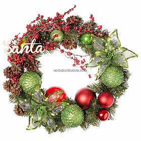 Вінок Yes! Fun Щасливе Різдво з декором d-35 см Зелений (904393)