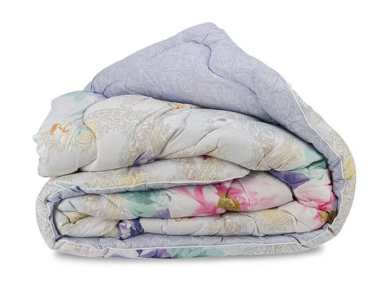 Одеяло Овечья Шерсть Премиум в Сатине Leleka-Textile Полуторный 140х205 Цветы SKL53-276689