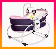 Дитяча люлька для новонародженого Mastela 5в1 сіро-рожевий колір . Люлька качалка баунсер для дітей до 5 років
