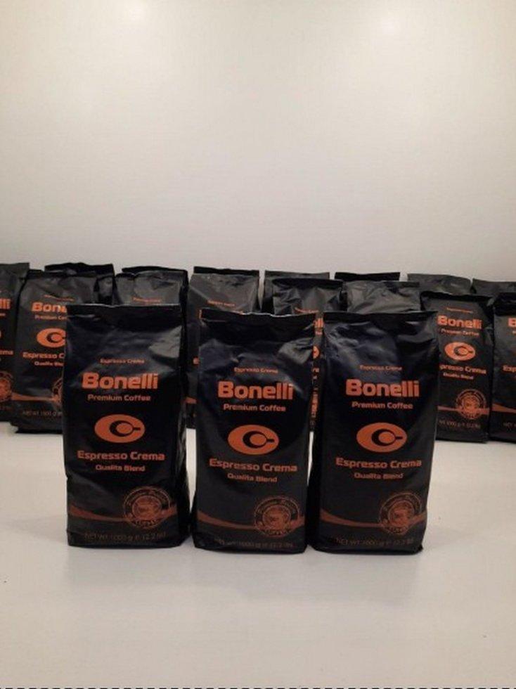 Бразильское кофе в зернах Bonelli 1000г Арабіка/Рабуста 80/20
