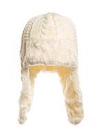 Стильная вязаная шапочка на исскуственном меху с застежкой под шею.