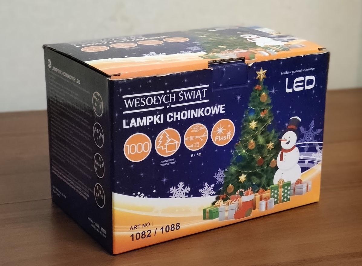 Новогодняя гирлянда 1000 LED, 65 м Белый теплый цвет с холодной белой вспышкой (flash)