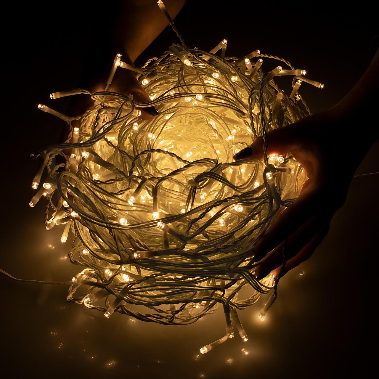 Новогодняя гирлянда Бахрома 500 LED, Белый теплый свет, 22,5 м