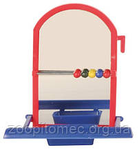 Дзеркало для папуг з годівницею і рахунками 8,5 см