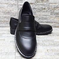 Кожаные черные туфли лоферы
