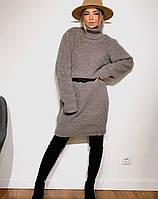 Женское вязаное платье туника. Женское теплое вязаное платье