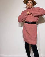 Женское платье туника вязаное. Женское вязаное теплое платье