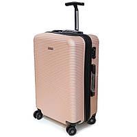 Пластиковый чемодан средний на 4 колесах Airtex Deimos пудровый, фото 1