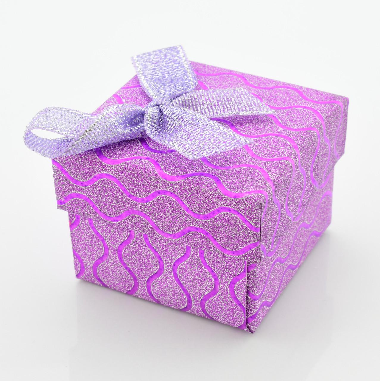 Коробочка для кольца-серег 741208 фиолетовая, размер 4*5 см