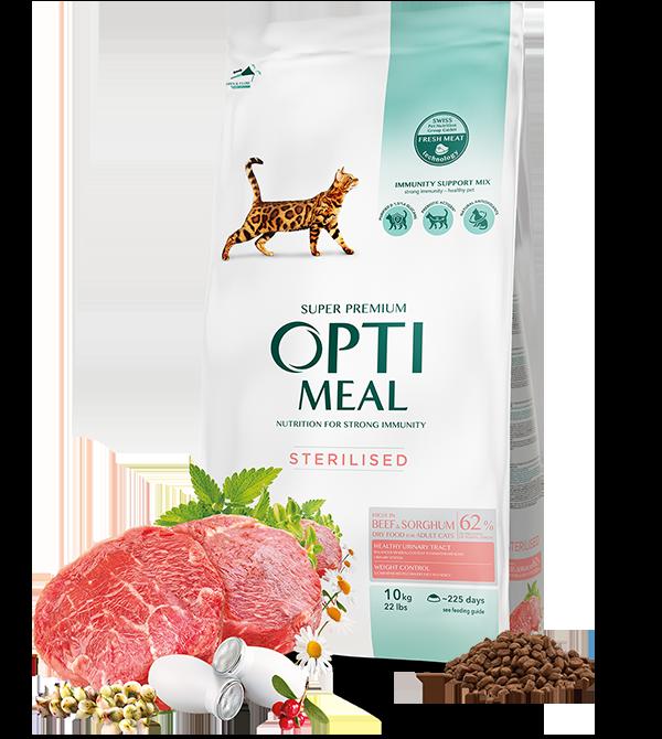 Сухой корм для стерилизованных кошек и кастрированных котов Говядина и сорго 10 кг OPTIMEAL ОПТИМИЛ