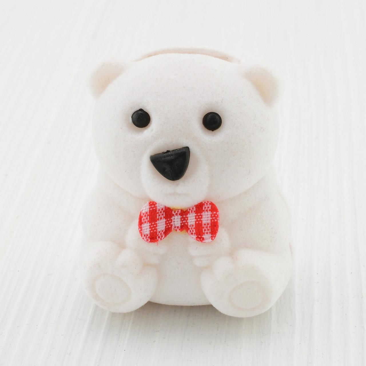 "Футляр ""Медведь"" для кольца-серег, 741053 белый бархат, размер  5*3 см"