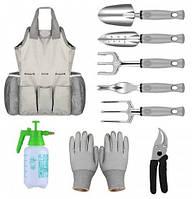 Набор садовый из 9 предметов с сумкой + комплект ручных инструментов