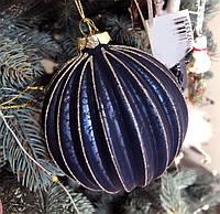 Ялинкова куля з рельєфом і декором з гліттера, 10см, колір - темно-синій антик, фото 1
