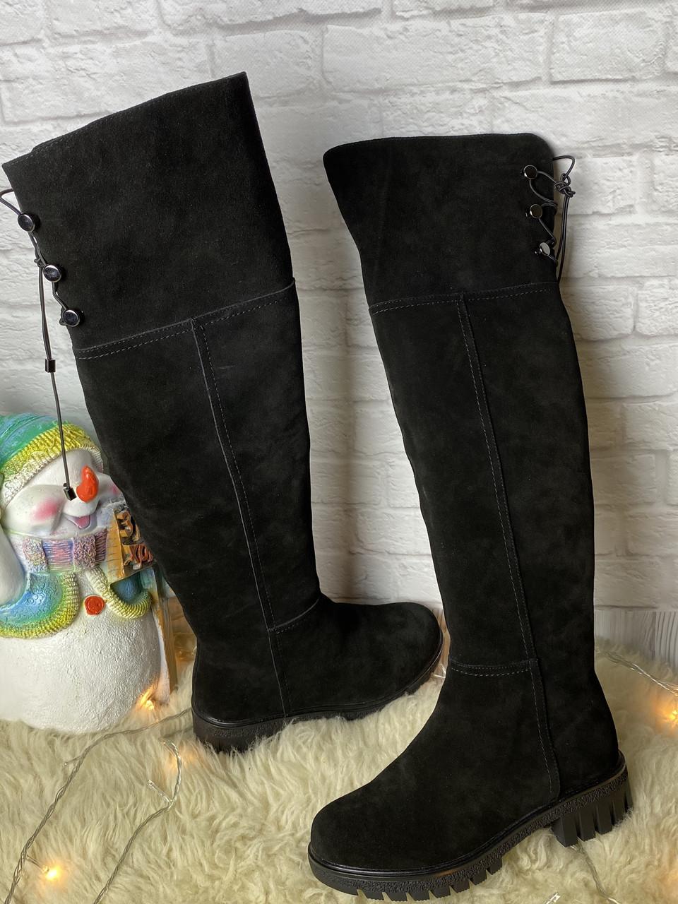 Зимние женские кожаные черные ботфорты сапоги из натуральная замши, шкіряні ботфорти чорні жіночі без каблука