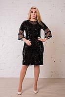 Черное блестящее платье праздничное, нарядное с паетками. Размеры:42, 44, 46, 48. Замеры в описании., фото 1