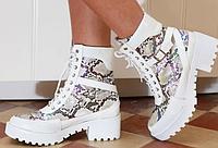 Женские ботинки на плоской подошве под кожу питона, фото 1