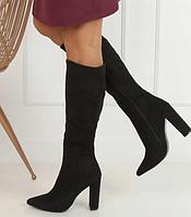 Осенние женские сапоги на каблуке черного цвета, фото 1