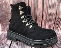 Зимние женские ботинки на шнуровке, фото 1