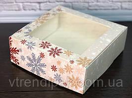 Коробка для десертів з вікном 200*200*70 Новорічна