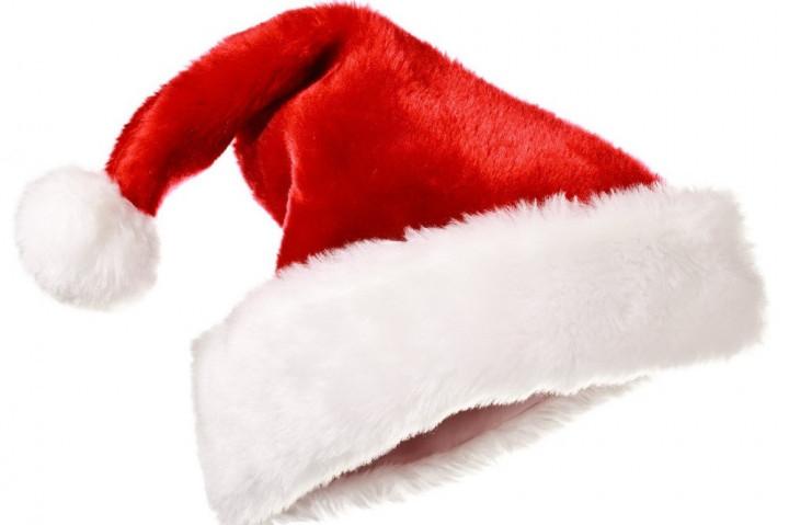 "Шапка Діда Мороза, червона с тисненням ""Сніжинка"" Шапка Деда Мороза"