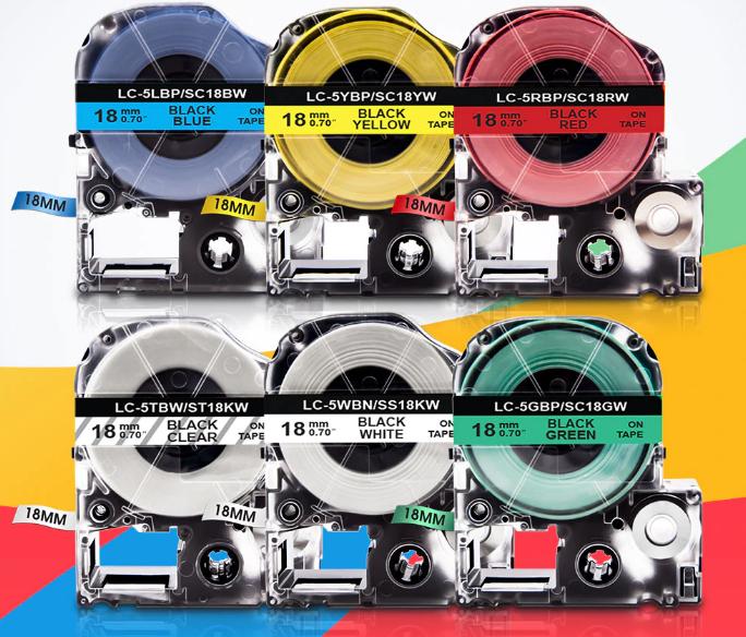 Лента Картридж с лентой для Epson SC18BW LK-5LBP LC-5LBP   18mm/8m для Epson LabelWorks C53S655006