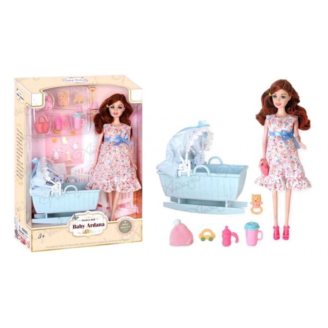 Лялька вагітна 29 см, лялечка, ліжечко, A623