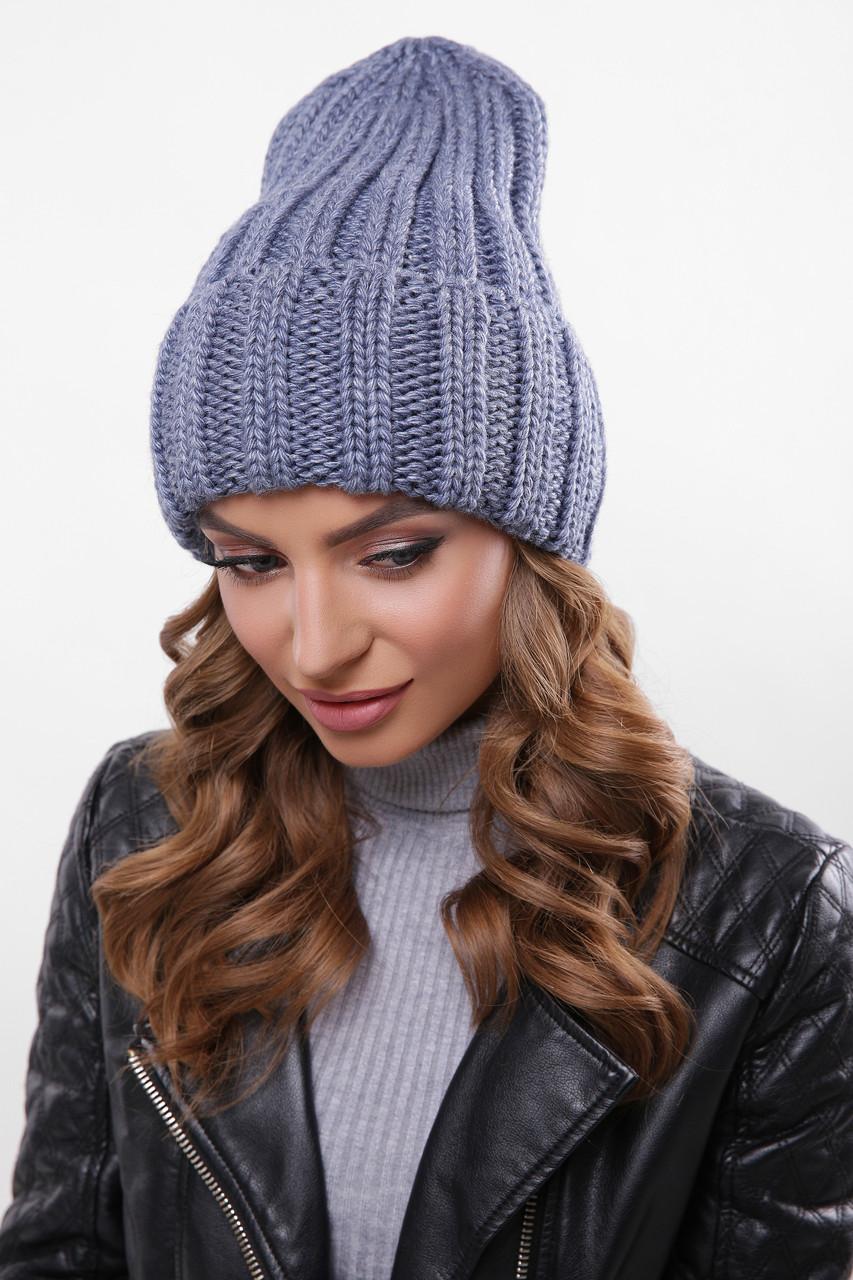 Шапка женская с подворотом теплая зимняя светлый джинс