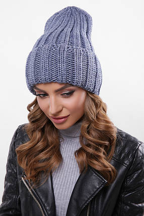 Шапка женская с подворотом теплая зимняя светлый джинс, фото 2
